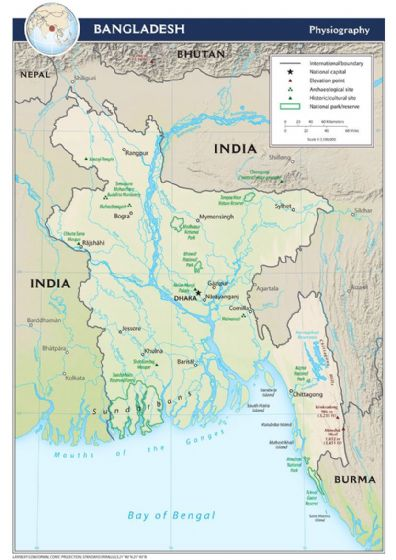 CIA Map of Bangladesh 2011 (Physiography) Print/Poster (5212)